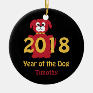 Ornement Rond En Céramique 2018 ans du chien