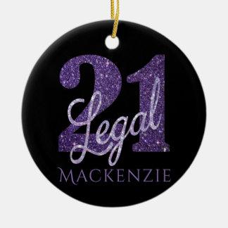 Ornement Rond En Céramique 21ème Anniversaire juridique de noir de parties