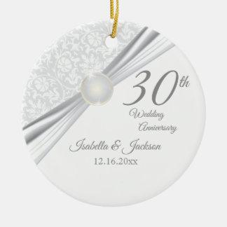 Ornement Rond En Céramique 30ème Anniversaire de perle