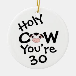 Ornement Rond En Céramique 30ème anniversaire personnalisé de vache sainte