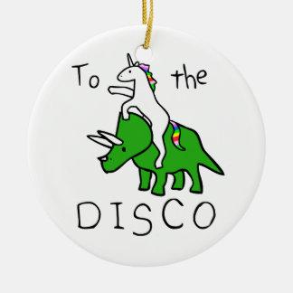 Ornement Rond En Céramique À la disco (Triceratops d'équitation de licorne)