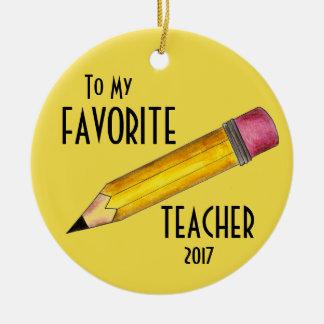 Ornement Rond En Céramique À mon cadeau préféré d'école de crayon du jaune 2