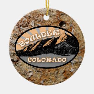 Ornement Rond En Céramique A personnalisé le Flatirons, Boulder le Colorado