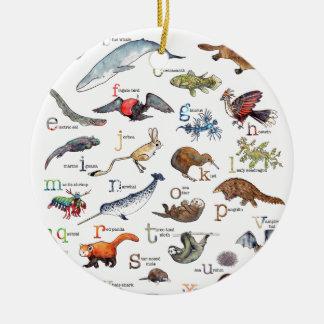Ornement Rond En Céramique A-Z des animaux extraordinaires
