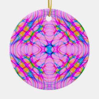 Ornement Rond En Céramique Abrégé sur motif de kaléidoscope de rose en pastel