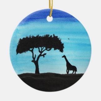 Ornement Rond En Céramique Acacia et girafe