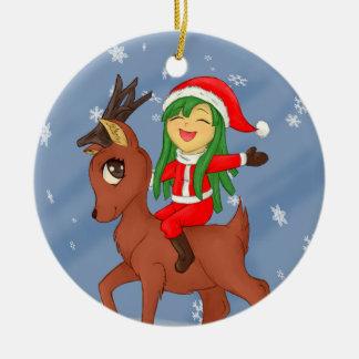 Ornement Rond En Céramique Acclamation de Noël