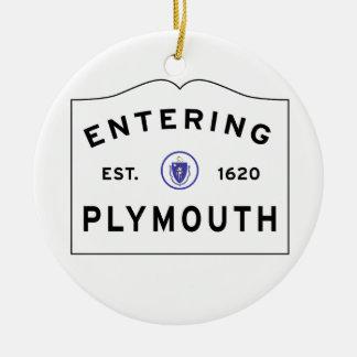 Ornement Rond En Céramique Accueillez au signe de ville de Plymouth mA