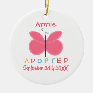 Ornement Rond En Céramique Adoption adoptée de papillon - nom fait sur