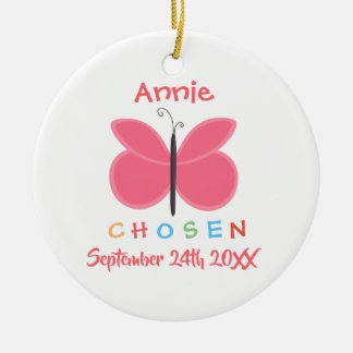 Ornement Rond En Céramique Adoption choisie adoptée de papillon - nom fait