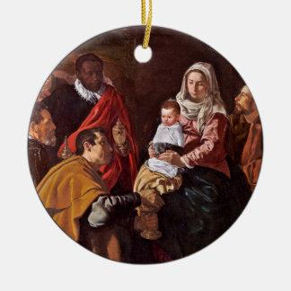 Ornement Rond En Céramique Adoración de los Reyes