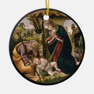 Ornement Rond En Céramique Adoration avec Joseph, Mary et bébé Jésus
