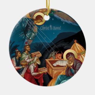 Ornement Rond En Céramique Adoration de l'ornement de Noël de Magi