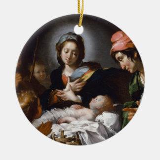 Ornement Rond En Céramique Adoration des bergers du 17ème siècle