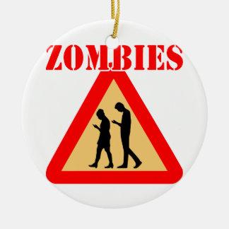 Ornement Rond En Céramique Ados de zombi avec des téléphones portables