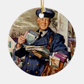 Ornement Rond En Céramique Affaires vintages, facteur fournissant des lettres