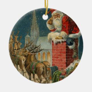 Ornement Rond En Céramique Affiche 1906 clous de Père Noël de cru original