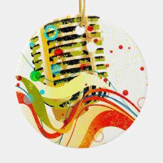 Ornement Rond En Céramique Affiche de microphone de jazz