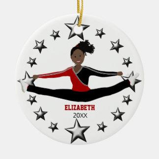 Ornement Rond En Céramique Afro-américain de danse ou d'acclamation rouge et