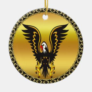 Ornement Rond En Céramique Aigle de noir et d'or de présentation horizontale