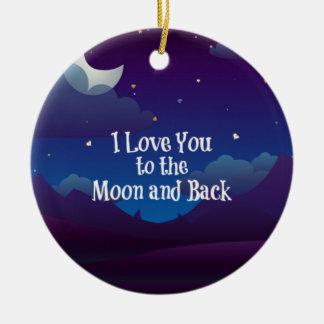 Ornement Rond En Céramique Aimez-vous à la lune et au dos, indigo bleu