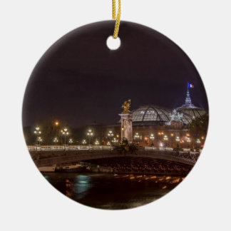 Ornement Rond En Céramique Alexander bridge and grand palais at night Paris