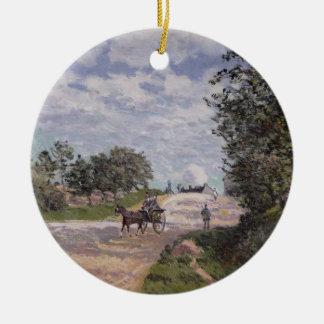 Ornement Rond En Céramique Alfred Sisley   la route de Mantes