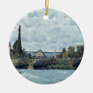Ornement Rond En Céramique Alfred Sisley | la Seine chez Bougival
