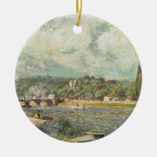 Ornement Rond En Céramique Alfred Sisley | le pont chez Sevres