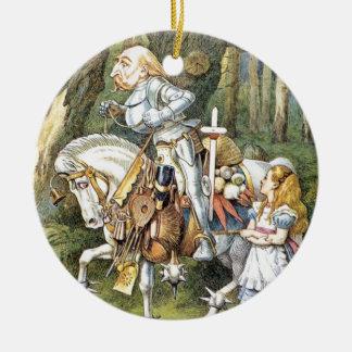Ornement Rond En Céramique Alice et le chevalier blanc