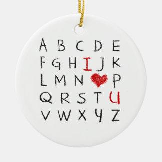 Ornement Rond En Céramique Alphabet d'amour