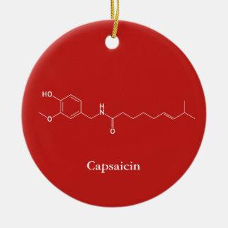 Ornement Rond En Céramique Amants mignons de piments de chimie de molécule de