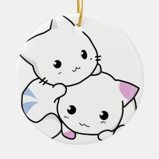 Ornement Rond En Céramique Amis mignons de chat