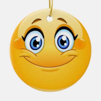 Ornement Rond En Céramique Amitié heureuse Ornamenet de visage de sourire