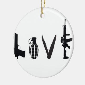 Ornement Rond En Céramique Amour avec des armes