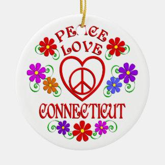 Ornement Rond En Céramique Amour Conecticut de paix