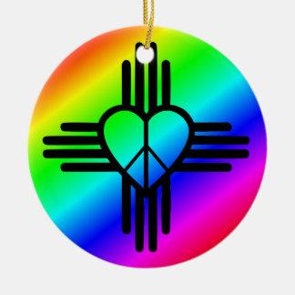 Ornement Rond En Céramique Amour d'arc-en-ciel du Nouveau Mexique