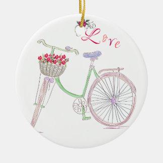 Ornement Rond En Céramique Amour de bicyclette