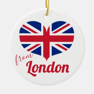 Ornement Rond En Céramique Amour de drapeau BRITANNIQUE en forme de coeur
