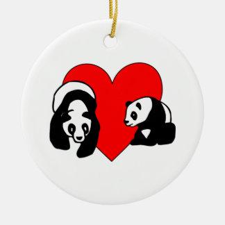Ornement Rond En Céramique Amour de panda