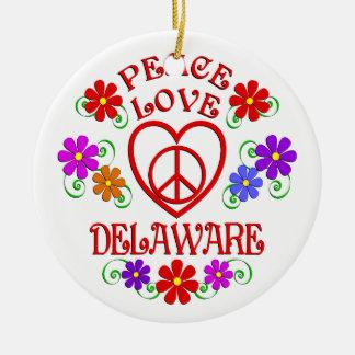 Ornement Rond En Céramique Amour Delaware de paix