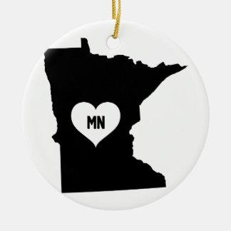 Ornement Rond En Céramique Amour du Minnesota