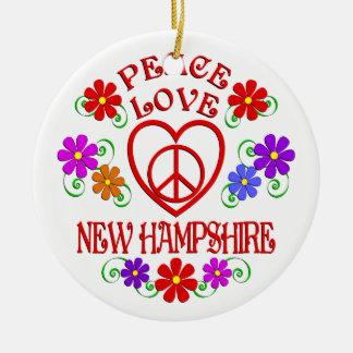 Ornement Rond En Céramique Amour New Hampshire de paix