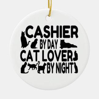 Ornement Rond En Céramique Amoureux des chats de caissier