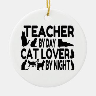 Ornement Rond En Céramique Amoureux des chats de professeur