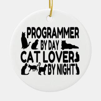 Ornement Rond En Céramique Amoureux des chats de programmeur