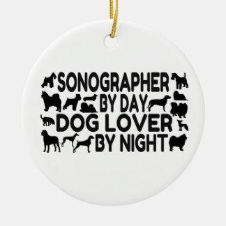 Ornement Rond En Céramique Amoureux des chiens de Sonographer