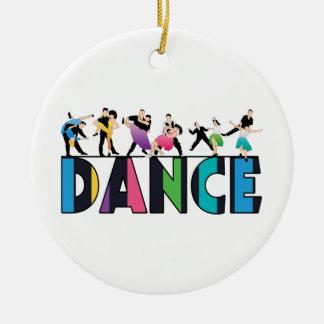 Ornement Rond En Céramique Amusement et danse rayée colorée de danseurs