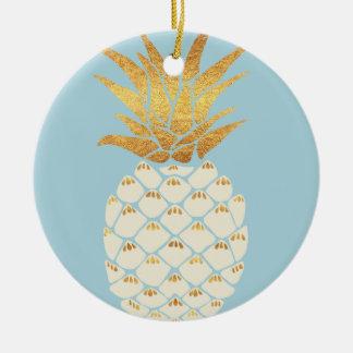 Ornement Rond En Céramique Ananas d'or