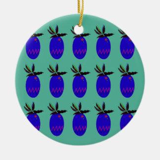 Ornement Rond En Céramique Ananases de conception bleus